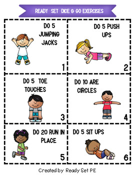 Math Movement Rolling Our Way to Fitness Subtraction Game Two Step  1-12