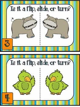 Math Movers Geometry Review Game - Flips, Slides, and Turns