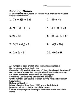 Math Movie- Finding Nemo Math Practice