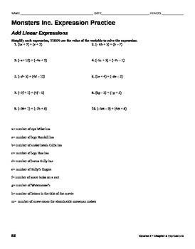 Math Movie- Monsters Inc. Math 7 Practice