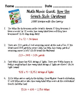 Math Movie Quest- How the Grinch Stole Christmas