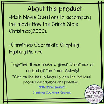 Christmas Math Movie Questions and Coordinate Graphing Picture BUNDLE