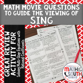Math Movie Questions to Guide the Viewing of SING 8.EE.7