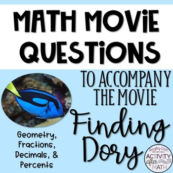 Math Movie Questions to accompany Finding Dory End of the Year Activity!
