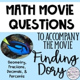 Math Movie Questions to accompany Finding Dory End of the Year Activity