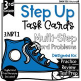 Math Multi-Step Word Problems Task Cards 3rd Grade 3.NBT.1 Rounding to 10 & 100