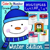 Math Multiples Color By Number: Winter Edition