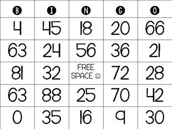 Math Multiplication Bingo Boards