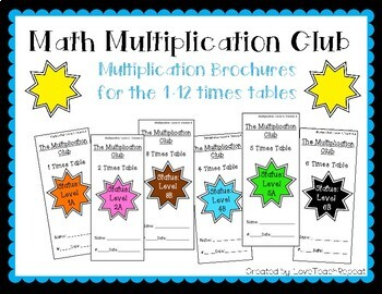 Math Multiplication Club: Brochures for the 1-12 Times Tables
