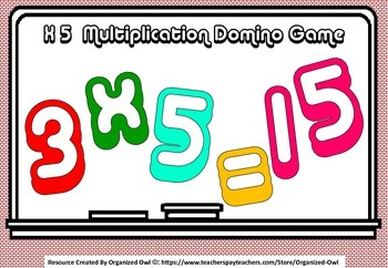 Math Multiplication Dominoes - 3 Separate Games!!! x2 x5 x10