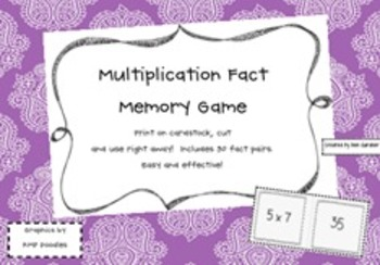 Math - Multiplication Fact Concentration Game