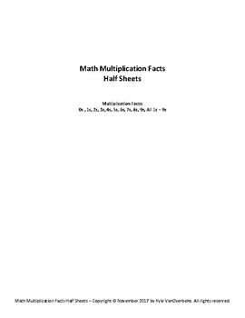 Math Multiplication Facts - Half Sheets