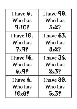 Math Multiplication Game - I have, Who has