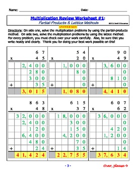 Math - Multiplication - Partial Products and Lattice Methods (8-Pack)