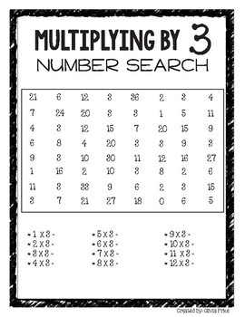 Math Multiplication Search - Multiples of 3