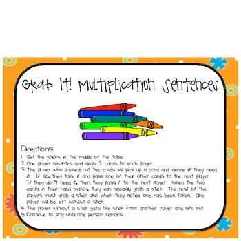 Math Multiplication Sentence Grab It! Center