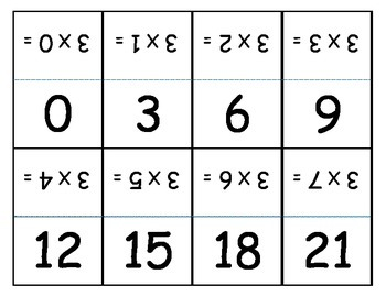 Math Multiplication  Stand-Up Cards