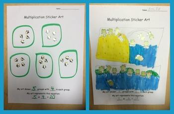 Math Multiplication Sticker Art Activity - an equal groups