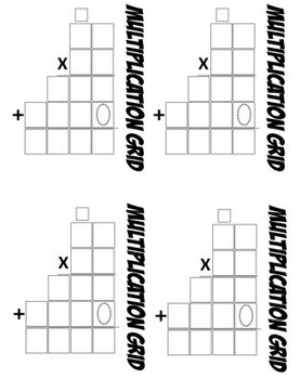 Math Multiplication Template 2-digit by 2-digit (4 Different Sizes)