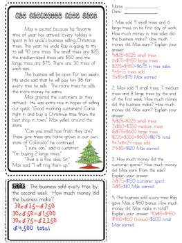 Math Multiplication Word Problem Stories (Grades 3-6)