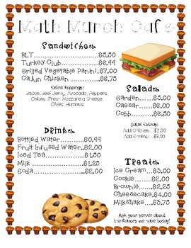 Math Munch Cafe: Percents, Discounts, Markup, Tax, Tip, and Commission