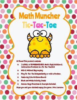 Math Muncher TIC-TAC-TOE, Math Skills