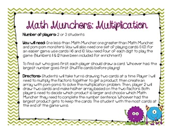 Math Munchers: Multiplication or Addition Game