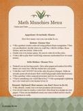 Math Munchies Menus Packet