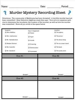 Math Murder Mystery!  Operations and Scientific Notation