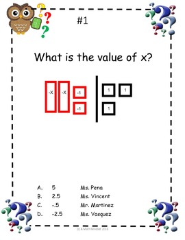Math Mysteries 2 step equations using models