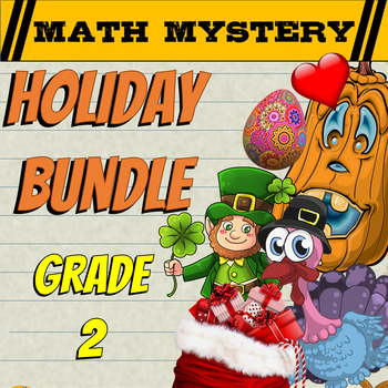 2nd Grade Math Mystery Holiday Bundle: CSI Math