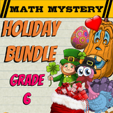 6th Grade Math Mystery Holiday Bundle: Back to School Math, Halloween Math +++