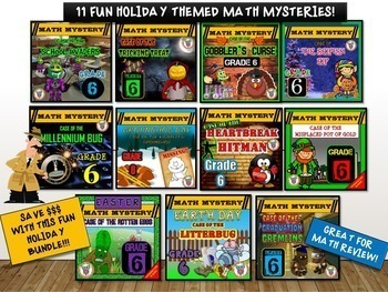 6th Grade Math Mystery Holiday Bundle: CSI Math