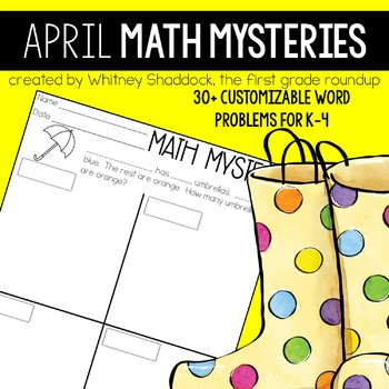 Math Word Problems for April {Customizable for K-4}