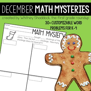 Math Word Problems December {Customizable Word Problems for K-4}