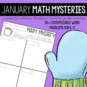Math Word Problems for January {Customizable for K-4}