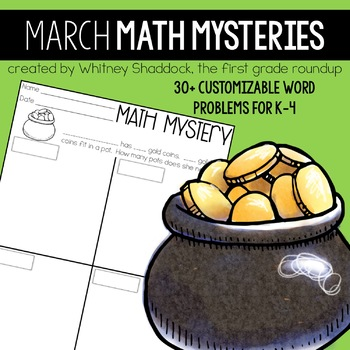 Math Word Problems for March {Customizable for K-4}