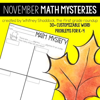 Math Word Problems for November {Customizable for K-4}