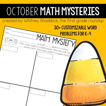 Math Word Problems October {Customizable Word Problems for K-4}