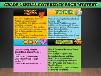 GRADE 2 Math Mysteries Seasons BUNDLE Winter Autumn Summer Spring Activities