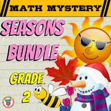 GRADE 2 Math Mysteries Seasons BUNDLE Winter Autumn Summer