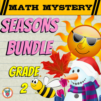 GRADE 2 Math Mysteries Seasons BUNDLE Winter Autumn Summer