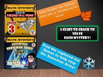 GRADE 3 Math Mysteries Seasons BUNDLE Winter Autumn Summer Spring Activities