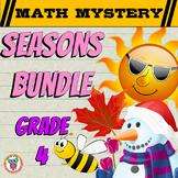 GRADE 4 Math Mysteries Seasons BUNDLE Winter Autumn Summer