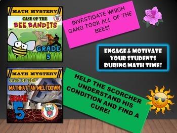 GRADE 5 Math Mysteries Seasons BUNDLE Winter Autumn Summer Spring Activities