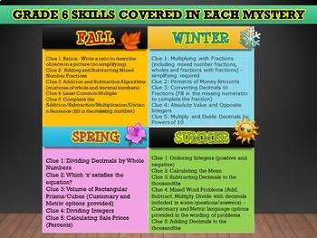 GRADE 6 Math Mysteries Seasons BUNDLE Winter Autumn Summer Spring Activities