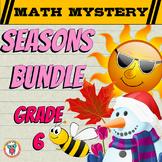 GRADE 6 Math Mysteries Seasons BUNDLE Winter Autumn Summer