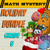 5th Grade Math Mystery Holiday Bundle: Back to School Math, Halloween Math +++