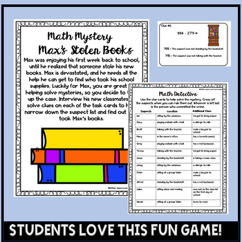 Math Mystery 4th Grade Back To School Activities