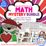2nd & 3rd Grade Word Problems - Math Mystery Bundle - Case Valentine Villains